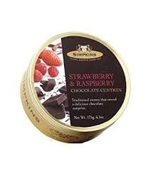 Strawberry & Raspberry Travel Sweets with Chocolate Centres 175g
